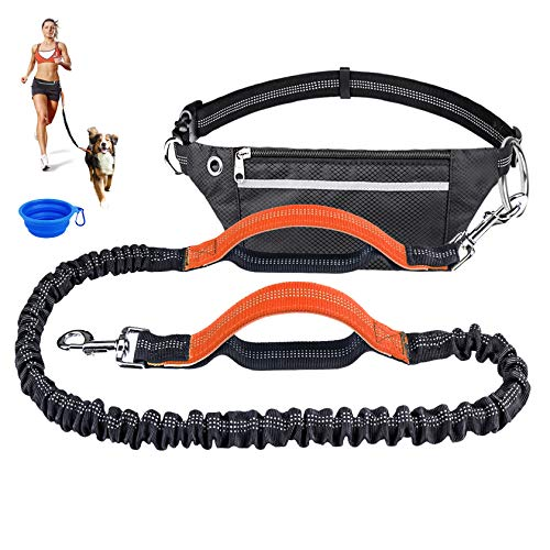cyrico Hands Free Dog Leash for Running Training Walking, Adjustable Waist Belt, Extendable Bungee Dog Running Waist Leash with A Free Dog Bowl, Dual Handles - Orange with Integrated Pack
