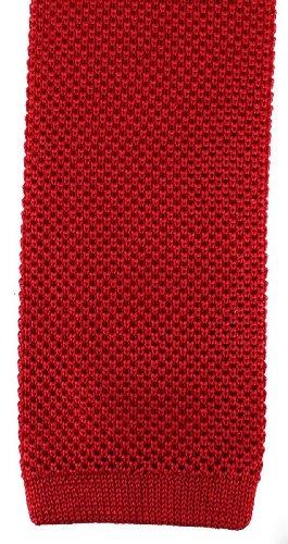 David Van Hagen Plaine rouge cravate en tricot de