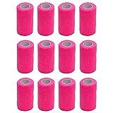 Cobox, 12 rotoli di garza elasticada 10 cm x 4,5m per primo soccorso, bendaggi sportivi, bendaggi per animali autoaderenti, Pink