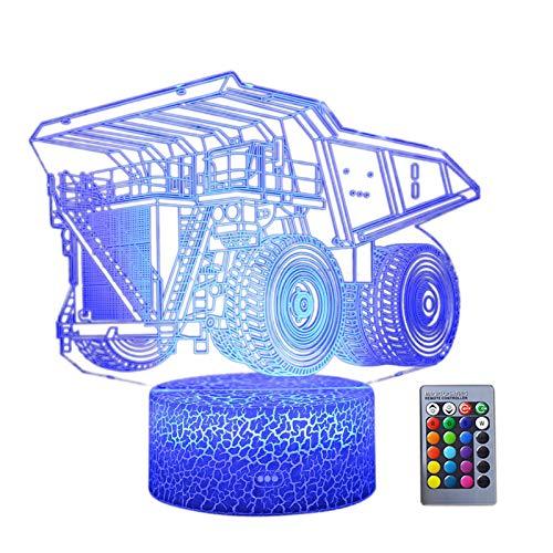 Lámpara de ilusión de camión de luz nocturna 3D, 7 colores que cambian con control remoto, luz LED de noche, lámpara táctil inteligente para niños, cumpleaños, Navidad, día de San Valentín, regalos