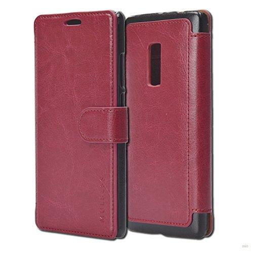Mulbess Handyhülle für OnePlus 2 Hülle Leder, OnePlus 2 Handy Hüllen, Layered Flip Handytasche Schutzhülle für OnePlus 2 Hülle, Wein Rot