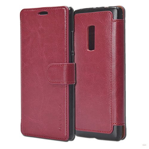 Mulbess Handyhülle für OnePlus 2 Hülle Leder, OnePlus 2 Handy Hüllen, Layered Flip Handytasche Schutzhülle für OnePlus 2 Case, Wein Rot
