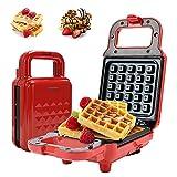 Gohytal Gofrera, Gofrera Eléctrica, Máquina de Fabricante de Waffle 650W, Gofrera con revestimiento antiadherente, Gofrera Portátil para Paninis, Crepes, Desayuno Rápido Almuerzo