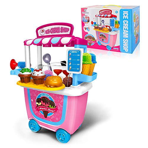 GizmoVine Ice Cream Cart Pretend Toys 31pcs Pretend Playset with Carrying Case Baby Toys for Over 2 Years Old Girl & Boys Kids Toddlers