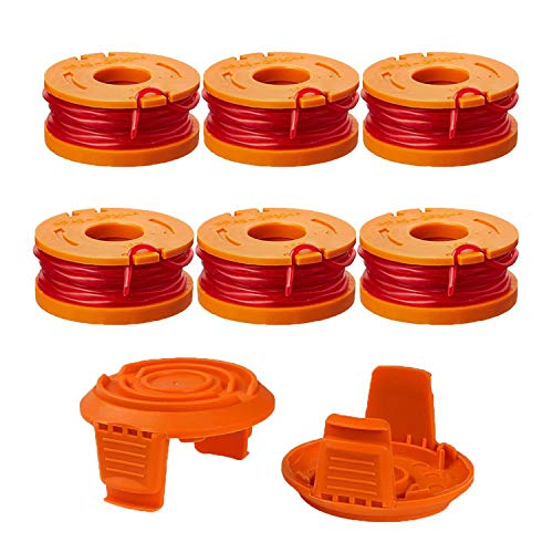 Thten Edger Spools Replacement for Worx WG180 WG163 WA0010 Weed Wacker Eater String with WA6531 GT Spool Cover 50006531 String Trimmer Refills 10ft 0.065'(6 Spool, 2 Cap)