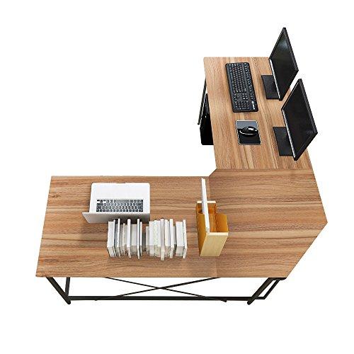 Soges 59 x 59 inches Large L-Shaped Desk Computer Desk L Desk Office Desk Workstation Desk Corner Desk, Oak CS-ZJ02-OK