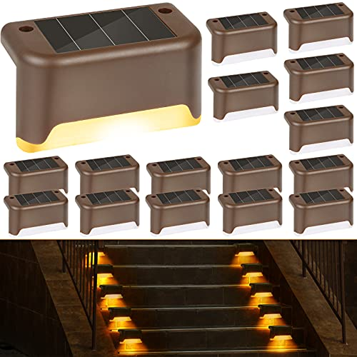 Solar Deck Lights Outdoor, 16 Pack Solar Step Lights LED Waterproof Solar Fence Lights Stair Lights for Railing, Deck, Patio, Yard, Post and Driveway, Warm White