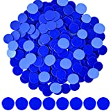 Coopay 300 Pieces Plastic Learning Counters Disks Bingo Chip Counting Discs Markers for Math Practice and Poker Chips Game Tokens,1 Inch (Blue Style 1)