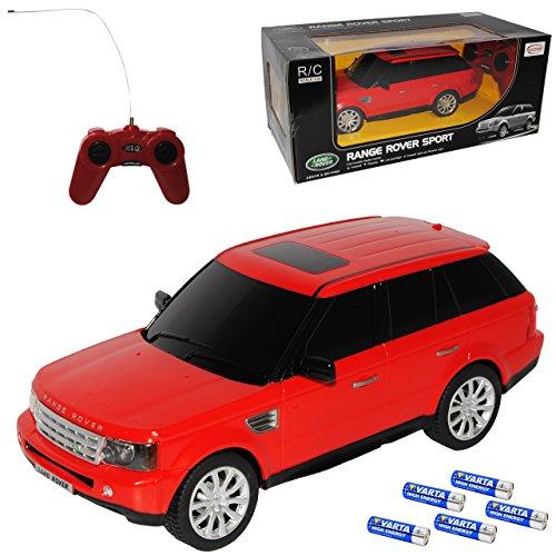 rastar Land Rover Range Rover Sport 1. Generation Rot 2005-2013 RC Funkauto - sofort startklar - mit Batterien - mit Beleuchtung - 1/24 Modell Auto mit individiuellem Wunschkennzeichen