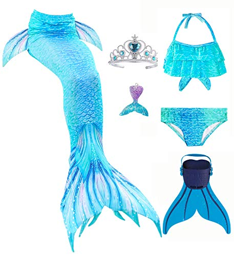 6 Pcs Mermaid Tails for Swimming with Monofin Girls 4-13 Years