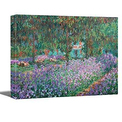 Vijf Arte Woman Sitting on The Bench by Claude Monet - Canvas Art Wall Decor Picture Print Framed by Vijf Arte