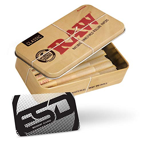 RAW 70/30 Prerolled Cones Packed Inside a RAW Metal Tin Container with Bamboo Packing Stick   Contains 20 Cones Natural Unrefined and Watermarked for an Even Burn   20 Pack