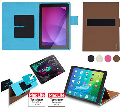 reboon Hülle für Captiva Pad 10 1 Quad HD Tasche Cover Case Bumper | in Braun | Testsieger