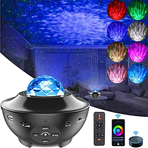 SmartStarry Night Projector, LUXONIC Ocean Wave Built-in Bluetooth Speaker Sound Sensor LED Starry Night Lamp with Remote APP Controlle Galaxy Lights Projector for Kids Gift,Home Decoration