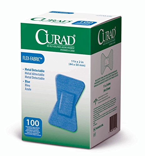 Curad Fingertip Adhesive Bandages, Food Service Blue Detectable Bandage, 100 Count