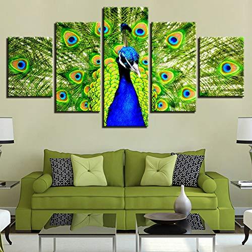 DGGDVP Impresiones en HD modulares Pinturas Decoración para el hogar para la Sala de Estar 5 Piezas Animal Pavo Real Poster Pictures Wall ArtSize 2 Frame