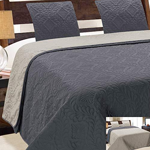 Euromat Zweiseitige Tagesdecke Gesteppt Bettüberwurf 3Tlg. 220x240 +2 Kissenbezüge Vigo Grau Ecru Dunkelgrau Silber 35