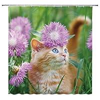面白い動物のシャワーカーテンの装飾かわいいペットの猫の家のバスルームの装飾ポリエステルバスクロスハンギングカーテンセットフック付き