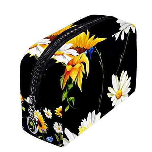 Shiiny Sunflowers Camomille Cornflowers Trousse de maquillage pour femme, petite trousse de maquillage étanche multifonction portable