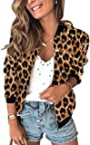 CAHANKO Womens Jackets Lightweight Zip Up Casual Inspired Bomber Jacket Leopard Coat Stand Collar Short Outwear Tops