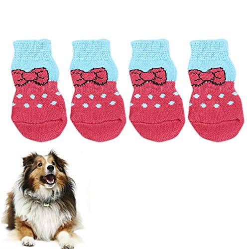 YY LIU Scarpe Cane Scarpe per Cani Stivali per Cani per Zampe ferite Impermeabili Scarpe per Cani per Cani di Grossa Taglia Calze per Cani Antiscivolo Red,Small