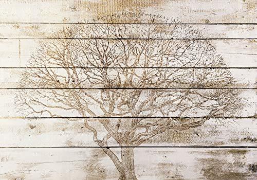 decomonkey Fototapete Holz 300x210 cm Design Tapete Fototapeten Vlies Tapeten Vliestapete Wandtapete moderne Wand Schlafzimmer Wohnzimmer Holzwand Baum