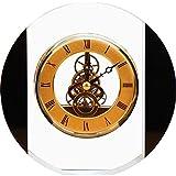 Reloj retro sentado, Aleación Número romano Material de cristal Material de cristal Movimiento transparente relojes de chimenea para sala de estar, cocina, oficina y domicilio Decoración (Color: Trans