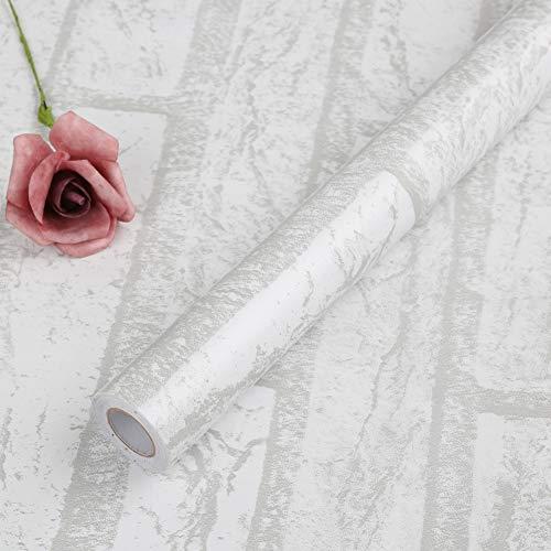 Papel Pintado de Ladrillo Blanco Vintage Papel Pintado Autoadhesivo Para Cocina Decorativa Pelar y Pegar Fondo de Pantalla Rollo de Pegatinas de Pared Para Dormitorio Sala Decoración 44 * 1000 cm