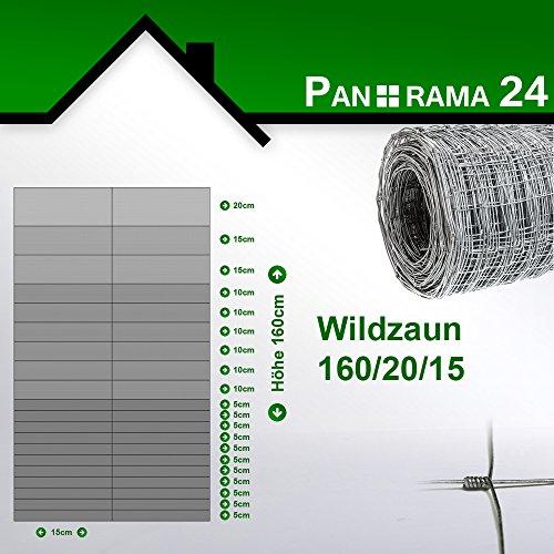 Wildzaun Forstzaun Weidezaun Rollenware Verzinkt 160/20/15 50m