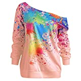 Meichang Womens Long Sleeve Tops Skew Neck Sweatshirt Spray Paint Print Blouse Fashion Pullover Tunics Pink