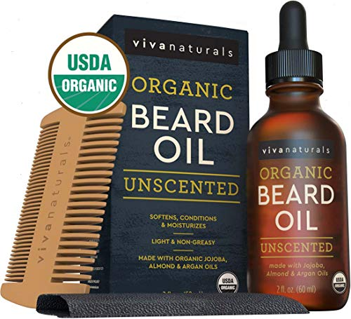 Organic Beard Oil for Men (2 fl Ounces) - Beard Kit Must-Have - Natural Beard Care with Organic Oils and Vitamin E - Unscented Moisturizing Beard Oil for Softness and Shine