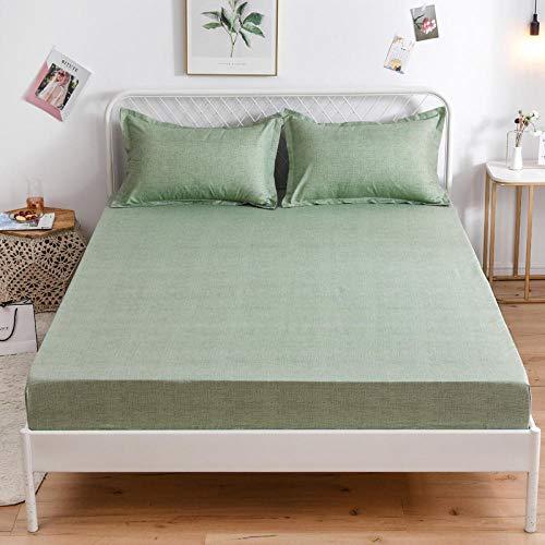 HPPSLT Protector de colchón de Rizo algodón y Transpirable Sábana de Cama de algodón Aloe Simple antideslizante-10_100 * 200cm