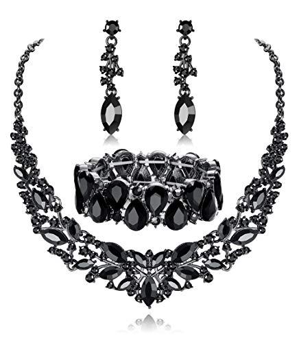 Fiasaso Wedding Crystal Jewelry Set for Women Bridal Rhinestone Necklace Earrings Bracelet Wedding Bridesmaid Jewelry Black