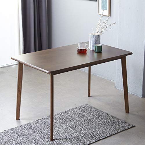 Solid Hardwood Dining Table, Mid Century Modern Rectangular Kitchen Leisure Table with Solid Wooden Legs for 4-Person, Series of Canberra (Walnut)