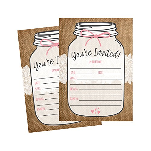 50 Rustic Mason Jar Fill in the Blank Invitations