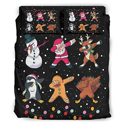 Generic Branded 4-Piece Bed Set Christmas Popular Warm Pattern Flat Sheet White 228 x 264 cm