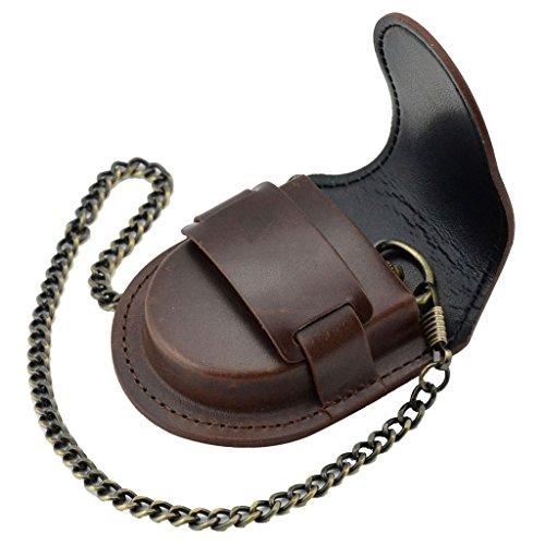 【ノーブランド 品】懐中時計バッグ ポケット アンティーク ブロンズ チェーン ウォッチバッグ ケース ポーチ 財布 ホルダー ブラウン