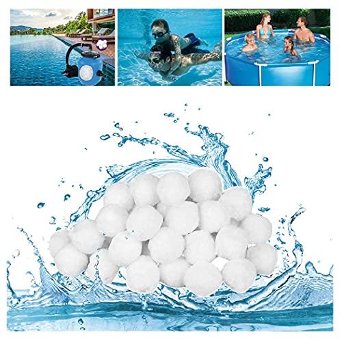 Pool Filterbälle leichtestes Material für Beste Leistung ersetzt 25kg Filtersand Quarzsand aus, Poolzubehör Poolreiniger Sandfilteranlage für Salzwasser geeignet, für Pool, Schwimmbad,500g Filterbälle