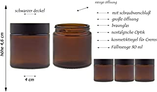 hocz Glastiegel Set mit Schraubverschluss | 6/12 teilig | Füllmenge 30 ml | Farbe Braun | Cremetiegel aus Braunglas 6 Stück