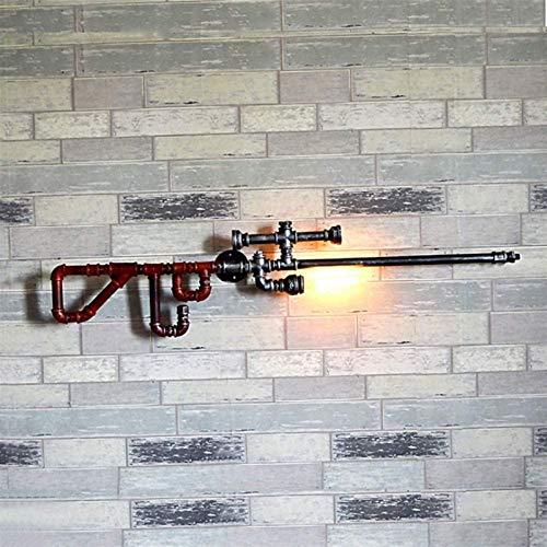 Lámpara industrial, Sniper Rifle Water Pipe Lámpara de pared, E27 Edison 1-Luz, Industrial Wind Loft Personalidad creativa Retro Restaurante Bar Luz de pared de hierro labrado, dormitorio de noche Dec
