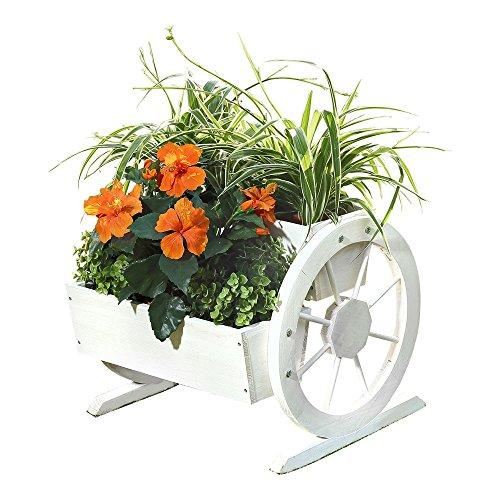 Melko Wagenrad Blumenkasten aus Holz 44 x 42 x 40 cm – schöner Deko-Pflanzkübel mit großen Wagenrädern, Fichtenholz, weiß