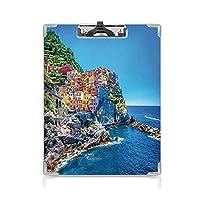 クリップボード A4 放浪癖の装飾 かわいい画板 地中海のヨーロッパスタイルの伝統的なイタリアンデザインの崖の海岸線ビュー山 A4 タテ型 クリップファイル ワードパッド ファイルバインダー 携帯便利
