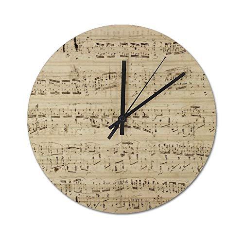 Pealrich - Orologio da parete silenzioso da 30 x 30 cm, con note musicali antiche e bigliettini, per casa, ufficio, classe, orologi scolastici
