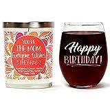 Cedar Crate Market Juego de Regalo de cumpleaños Cute Stemless 15 oz. Vaso de Vino, Aroma, 10 onzas Vela de Soja | Huckleberry, limón, Vainilla día de la Madre