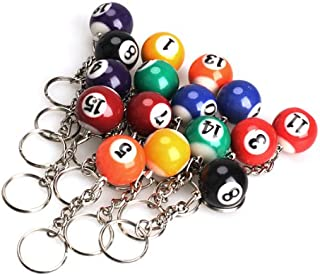 Actopus 16pcs Billiard Key Chain Pool Keychain Ball Keyrings Key Rings