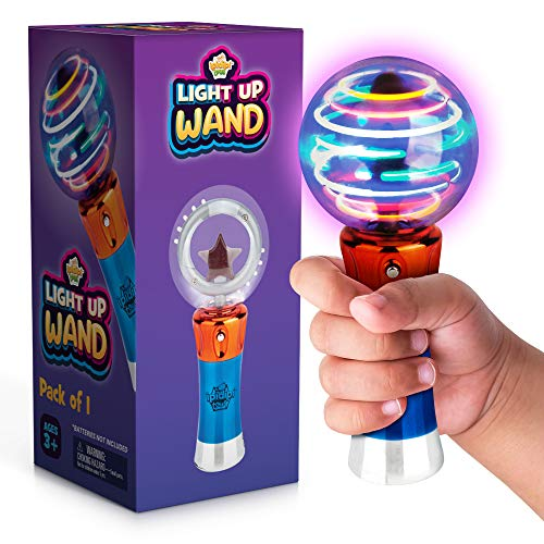 Spinning Light Up Wand for Kids in Gift Box, Rotating LED Toy Wand for Boys and Girls, Magic Princess Sensory Toys for Autistic Children, Best Birthday Gift for Kids 3, 4, 5, 6, 7