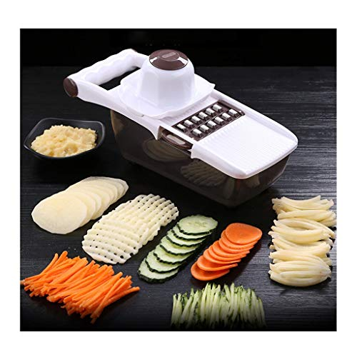 Xiaokeai Slicer Household Professional Box Grater, Vegetable Chopper Mandoline Slicer with Large Container - Stainless Steel with 8 Blades, The Best Kitchen Accessories Mandoline