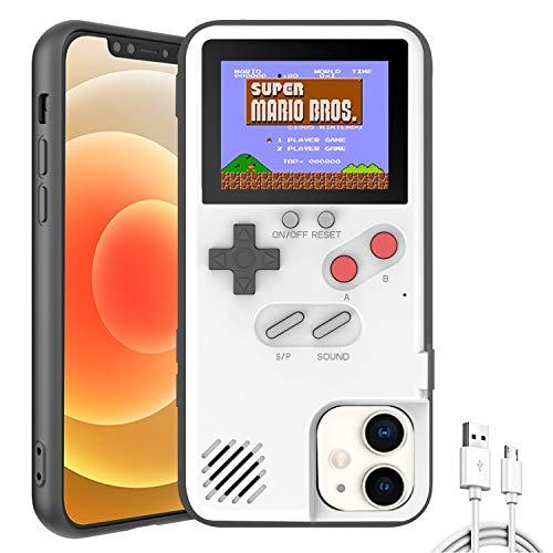 Gameboy Phone Cases, Retro 3D Gameboy Case for iPhone with 36 Small Games, Color Display Shockproof Video Game Phone Case, Phone Protective Case (for iPhone 6/7/8/6S, White)