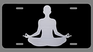 Vincit Veritas Yoga Lotus Meditation Namaste Black Laser Etched Metal Aluminum License Plate | Premium Quality | 12-Inch By 6-Inch | LP035