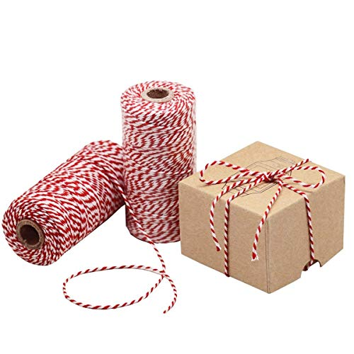 Red and White Twine, 328 Feet 100m Cotton Bakers Twine Perfect For Baking, Butchers, Crafts and Christmas Gift Wrapping